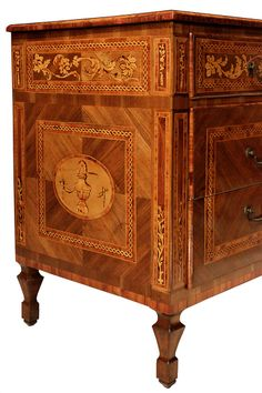 A Pair Of Italian Mid 18th Century Louis XVI Period Walnut Inlaid Commodes | From a unique collection of antique and modern commodes and chests of drawers at http://www.1stdibs.com/furniture/storage-case-pieces/commodes-chests-of-drawers/