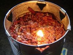 sawdust candle --long burning light and heat source for times when the power is out