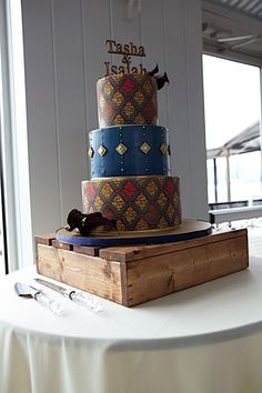 African Inspired details | Custom Ankara print Fabric cake by B Cake Ny | Big Dawg Party Rental wooden Stand | Event Design Stacy Armand
