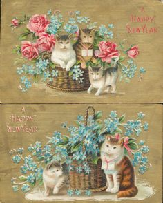 Lot of 2 Cats with Baskets of Flowers Kittens Antique Cat Postcards HHH102 | eBay