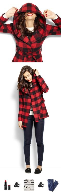 A buffalo check wrap coat + skinny jeans + classic sweater + red lips make for a too-cool, ready-for-anything fall outfit.