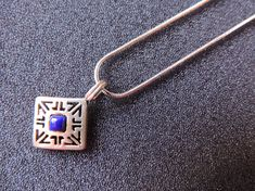 Lapis and Hallmark Silver Pendant with Silver Necklace Delicate Square Pendent Waterford Crystal, A 17, Vintage Movies, Necklace Lengths, Gifts For Him, Delicate, Women Wear, Pendants, Pendant Necklace