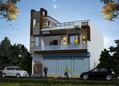 Flat Roof House, House Front Design, Dream House Exterior, House Elevation, Garage House, Garages, Shiva, Planes, Cool Designs