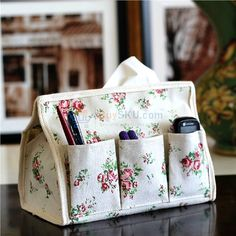 Novelty Multi-functional Flower Patterns Soft Fabric Tissue Box Holder Storage Box with 6 Pockets