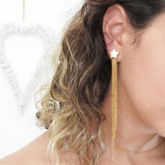 Star earrings long earrings statement earrings chain earrings silver or gold womens earrings single or pair #starearrings #dangleearrings