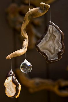 Small Driftwood SunCatcher Mobile with Agates & by WoodintheWind, $44.00