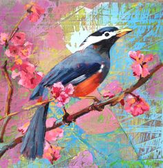"""""""Cherry"""" is a delightful mixed media work inspired by nature, by Lisa Aerin Collett. See the whole collection in the photo article """"The Nature of Art."""""""