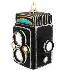 Old Fashioned Black Camera Glass Ornament $10.99