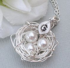 Personalized Sterling Silver Birds Nest by Alwaysabridesmade, $28.00