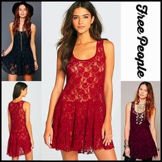 """❌SOLD❌❗️1-HOUR SALE❗️FREE PEOPLE SLIP DRESS 💟NEW WITH TAGS💟 RETAIL PRICE: $88 Gorgeous! SIZING- M = 8-10 FREE PEOPLE SLIP DRESS Boho Crochet Lace Mini   * Scoop neck front  * Tank straps  * Semi-sheer lace style for layering  * Fit-and-flare, A-line style w/a drop waist  * Approx 33"""" long  * Stretch-to-fit fabric   Material: 60% cotton & 40% nylon  Color: Dark red Item#F93900 semi pleated # witchy bodycon body conscious bandage embellished sheath vintage shift cocktail 🚫No Trades🚫 ✅…"""