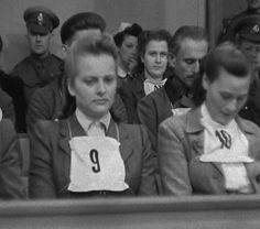 """Defendant No 9 is Irma Ida Ilse Grese,""""The Hyena of Auschwitz"""" and the """"Beast of Belsen"""" (1923 –1945) was a guard at Ravensbrück and Auschwitz, and was a warden of the women's section of Bergen-Belsen. Grese was convicted for crimes against humanity at the Belsen Trial and sentenced to death. Executed at 22 years, 67 days of age, Grese was the youngest woman to die judicially under English law in the 20th century."""