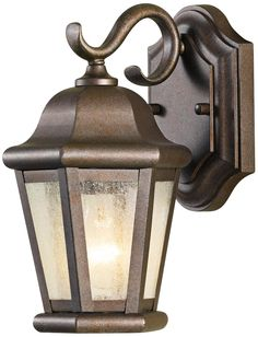 """Front door? Murray Feiss Martinsville 10 3/4"""" High Outdoor Wall Lantern - Style # R9679; Corinthian bronze finish. Clear seeded glass. Takes one 100 watt medium base bulb (not included).10 3/4"""" high. 6 1/4"""" wide. Extends 7 1/4"""" from the wall. $69.91"""
