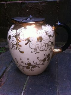 Vintage Cream and Gilt Jug/Pitcher with by VintageShabbyCrafty