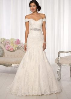 Beautiful Essense of Australia all-over Lace fit and flare wedding dress feature Diamante beading throughout and romantic cap sleeves. Lace Wedding Dress, Elegant Wedding Gowns, Country Wedding Dresses, Elegant Dresses, Trendy Wedding, Lace Dress, Peplum Dresses, Dressy Dresses, Perfect Wedding