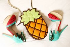 Tropical accessories. Watermelon shoes & pineapple purse!