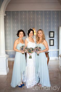 Lace and pale blue bridesmaids Sister Wedding, Blue Wedding, Wedding Bells, Wedding Colors, Wedding Styles, Dream Wedding, Duck Egg Blue And Yellow Wedding, Baby Blue, Pale Blue Bridesmaid Dresses