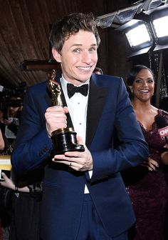 Pin for Later: Celebrities Keep the Oscars Fun Going With the Star-Studded Governors Ball Eddie Redmayne