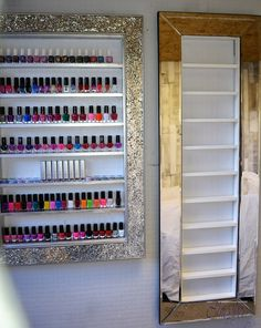 Mirror frame nail polish rack space saving style great for small spaces