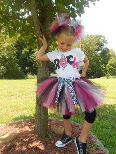 Girls Zebra Rockstar Rock Star Tutu Pink Black White Your choice in Ribbon Birthdays Parties Pageants 6 7 8. $19.99, via Etsy.