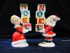 Vintage Christmas NOEL pkgs Salt & Pepper Shakers Santa & Mrs Claus  1950's