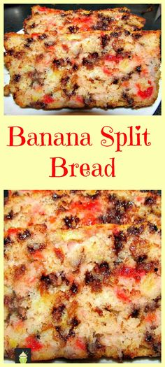 Banana Split Bread. A great family favorite, full of goodies and really easy to…