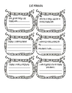 These exit passes are a great way for students to think about their day and what they accomplished. When parents ask