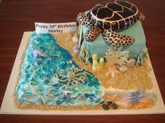 Beach Scene - turtle, octopus and dolphin Crazy Cakes, Fancy Cakes, Cute Cakes, Ocean Cakes, Beach Cakes, Themed Birthday Cakes, Themed Cakes, Birthday Cakes For Teens, 5th Birthday