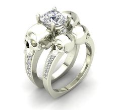 10 k White Gold Skull Engagement Ring - Temple of The Ancient Dragon TM - 1