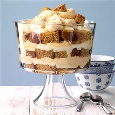 Honey Gingerbread Trifle Recipe -My husband's grandma made the most amazing honey gingerbread. It's wonderful all on its own, but when you add it to a trifle, your guests are sure to ask for the recipe. Potluck Desserts, Christmas Desserts, Dessert Recipes, Trifle Desserts, Dessert Ideas, Christmas Cookies, Light Desserts, Christmas Foods, Delicious Desserts