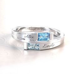 Personalized Promise Rings, Bypass Ring, Baguette, Birthstones, Wedding Rings, Engagement Rings, Metal, Link, Instagram Posts
