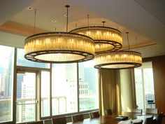 ESTADIO hanging lamps designed by Miguel Milá for a spectacular meeting area in the office