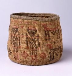 Root Bag, ca. 1840-1860 | Culture: Wasco-Wishxam, Lower Columbia River, Washington  | Indian hemp fiber, grass, dyes, tanned buckskin, sinew?