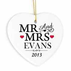 Personalised Mr & Mrs Ceramic Heart Decoration