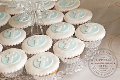 Has to be the most beautiful Holy Communion Dessert Buffet ever. Mathildas Markets - Busy Little Bigs! Christening Cupcakes, Baptism Cookies, Boys First Communion, First Communion Cakes, Baby Boy Baptism, Baptism Party, Baptism Ideas, Baby Dedication, Party Time