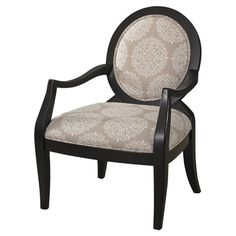 Bring elegant appeal to your living room or parlor with this wood arm chair, featuring medallion upholstery and a black finish.    Produc...