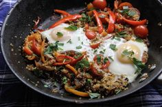 Steamed Eggs over Spicy Red Pepper Quinoa - Move over all you breakfast haters, cause this dish was made for the breakfast lovers.  Looking for a hearty healthy breakfast, brunch, or even dinner?  Try this quick and easy colorful dish.   For more see  https://type1traveler.com/