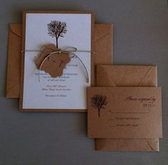 Rustic tree wedding invitation set rsvp cards by paperlemon, $3.50