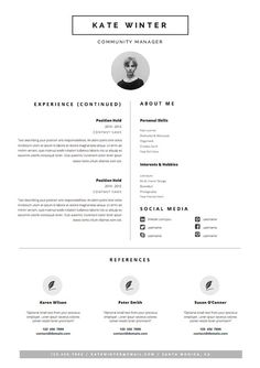 minimal resume template for word 1 2 page cv por oddbitsstudio