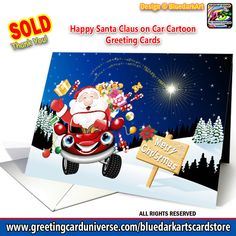 SOLD! Thank You! 🎅 #Happy #Santa #Claus on #Car #Cartoon #Greeting #cards 🔸 #Design © #BluedarkArt #TheChameleonArt 👉 www.greetingcarduniverse.com/holiday-cards/christmas-cards/santa-claus-st-nicholas/general/happy-santa-claus-on-car-1177442 . #Visit my #Store, #follow this #link 👉 www.greetingcarduniverse.com/bluedarkartscardstore . #santaklaus #santaclaus #christmascard #funnysanta #greetingcards #merrychristmas #shoppingonline #onlineshop #copyrightbluedarkart #xmascard Magical Christmas, Christmas Fun, Holiday Cards, Christmas Cards, Christmas Images, Dark Art, Greeting Cards, Santa, Invitations