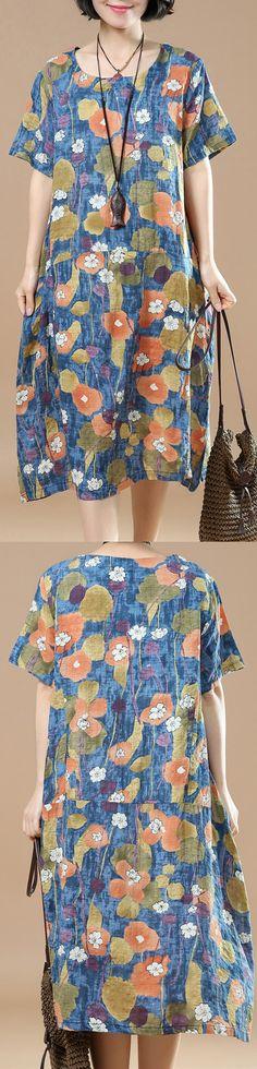 New blue prints linen knee dress plussize shirt dress women o neck