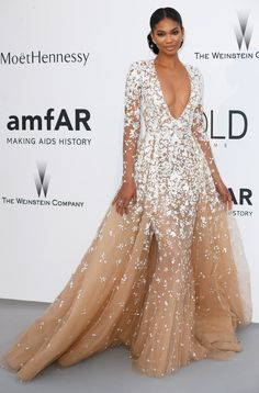 - Chanel Iman wearing Zuhair Murad Spring 2015 Haute Couture - amfAR's Cinema Against AIDS Gala Presented by Bold Films and Harry Winston at Hotel Cap-Eden-Roc during the Annual Cannes Film Festival in Cap d'Antibes, France. Chanel Iman, Couture 2015, Couture Mode, Couture Fashion, Dress Fashion, Ootd Fashion, High Fashion, Zuhair Murad, Glamour
