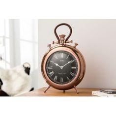 Horloge de table contemporaine 40 cm avec des chiffres romains design industriel coloris cuivre