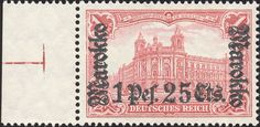 German Post offices in Morocco, overprint on regular german stamps [MiNr 55 II B a] 1p25¢ on 1mk Carmine red. 25:17 Perforation. Glossy overprint. War printing