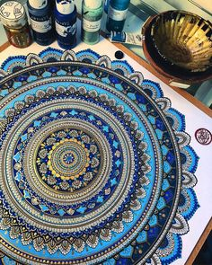 Mandala Drawn and then Painted with Color Themes. By Asmahan Rose Mosleh.