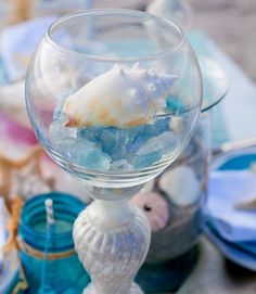 DIY Centerpieces for a Beach Bridal Shower or Wedding.