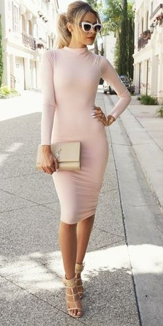 blush midi dress with nude accessories