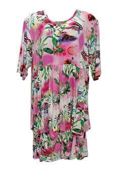 AKH Fashion Lagenlook Empire Wolken Tunika Kleid in rosa XL Mode bei www.modeolymp.lafeo.de