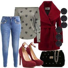 Una proposta perfetta per la sera, in perfetto stile sporty chic, ideale anche per le più giovani. I jeans skinny, impreziositi da strass sulle tasche anteriori sono abbinati alla felpa grigia, con stampe e spalle scoperte. Il cappotto dal taglio corto, con ampio collo è color rosso scuro. Le décolleté bordeaux, con tacco alto, plateau e cinturino, la tracolla nera in velluto ed i bellissimi orecchini, completano il look.