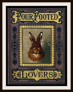 Vintage Book Cover Four Footed Lovers by RosiesVintagePress, $25.00