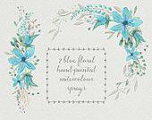 Watercolour floral clip art - two blue floral sprays; wedding clipart; corner spray; straight spray - digital download